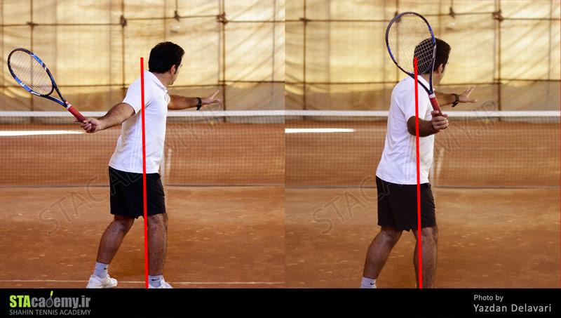 نحوه صحیح عقب بردن راکت تنیس برای ضربه فورهند
